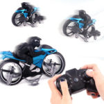 New              2.4G 2 In 1 Land RC Car Vehicle Motorcycle Flying Drone RTR Model Toy