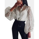 New              Chic Polka Dot Print Puff Sleeve See Through Blouse