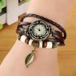 New              Fashion Ethnic Style Leaf Pattern PU Leather Strap Women Bracelet Watch Quartz Watch