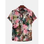 New              Men Floral Print Turn Down Collar Hawaii Beach Casual Short Sleeve Shirts
