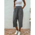 New              Women Casual Striped Elastic Waist Loose Mid-Calf Pants With Pockets