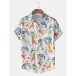 New              Mens Funny Giraffe Printing Breathable Short Sleeve Casual Shirts
