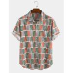 New              Mens Ethnic Style Stripe Plaid Design Breathable Shirts