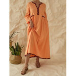 New              Print Patchwork V-neck Long Sleeve Pocket Casual Maxi Dress