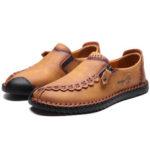 New              Men Vintage Casual Side Zipper Soft Microfiber Leather Shoes