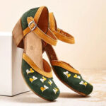 New              LOSTISY Women Embroidery Round Toe Ankle Strap Comfy Casual Heels Pumps