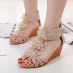 New              Women Roman Style Flowers Decoration Comfy Wedges Heel Sandals