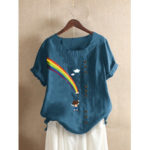New              Women Rainbow Print O-neck Short Sleeve Casual T-shirt