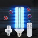 New              E27 60W 195LED UVC Bulb Household UV Germicidal Lamp Disinfection Indoor Light With Lampholder Remote Control