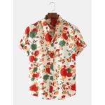 New              Mens Thin Breathable Floral Printed Short Sleeve Shirts