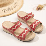 New              LOSTISY Women Embroidery Open Toe Slip On Casual Comfy Summer Wedge Sandals