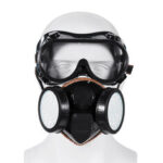New              2 in 1 Gas Mask Double Filter Anti Gas Chemical Pesticide Respirator 300Hours Used