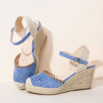New              LOSTISY Women Espadrilles Cutout Ankle Strap Casual Wedge Sandals