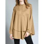 New              Long Sleeve Lapel Button Down Irregular Hem Blouse For Women