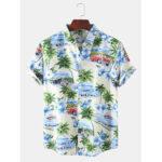 New              Mens Designer Cartoon Coconut Car Landscape Print Short Sleeve Hawaii Casual Shirts