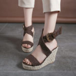 New              Women Wedges Heel Braided Espadrille Ankle Cross Buckle Strap Sandals