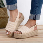 New              Women Casual Straw Braided Peep Toe Espadrille Platform Sandals