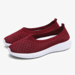 New              Women Casual Comfortable Knitted Lightweight Soft Sole Slip-on Sneakers