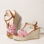 New              Women Espadrilles Striped T-Strap Cross Strap Casual Beach Wedge Sandals