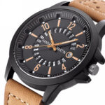 New              Fashion Causal Creative Date Display Waterproof Leather Strap Men Quartz Watch