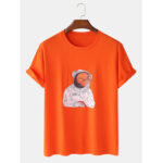 New              Mens Cotton Funny Astronaut Print Designer Short Sleeve T-Shirts