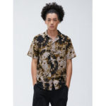 New              Men 100% Cotton Tie-Dye Print Casual Loose Lapel Short Sleeve Shirts