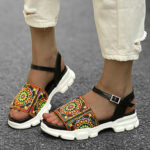 New              LOSTISY Women Colorful Embroidered Buckle Platform Sport Sandals