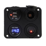 New              12V-24V Dual Double LED USB Charger Socket Voltmeter Switch Panel 5V 1A+2.1A For Motorcycle Boat Car Tractor