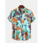 New              Men Fashion Floral Print Turn Down Collar Hawaii Holiday Short Sleeve Shirts