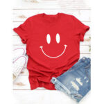New              Women Casual Cartoon Smile Printed Short Sleeve O-neck T-Shirt