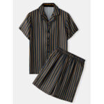 New              Men Stripe Print Turn Down Collar Breathable Short Sleeve Black Pajama Set Home Sleepwear