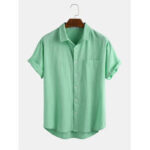 New              Mens 100% Cotton Solid Color Pocket Lapel Casual Loose Short Sleeve Shirts
