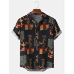 New              Mens Bandana Print Vintage Button Up Short Sleeve Casual Shirts
