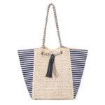 New              Women Summer Navy Straw Shoulder Bag Outdoor Tassel Bag Satchel Handbag