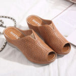 New              Women Breathable Hollow-out Peep Toe Wedges Sandals