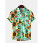 New              Men Women Sunflower Floral Print Chest Pockets Turn Down Collar  Hawaii Casual Short Sleeve Shirts