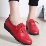New              Women Non-slip Solid Color Leather Lace-up Soft Sole Flats