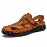 New              Mens Leather Comfy Non Slip Hand Stricing Soft Sole Casual Sandals