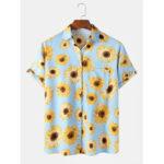 New              Mens Fashion Sunflower Print Casual Holiday Lapel Short Sleeve Shirts