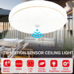New              LED Motion Sensor Ceiling Light Bedroom Kitchen Round Panel Home Fixture Lamp
