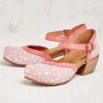 New              Women Polka Dot Round Toe Ankle Strap Block Heel Casual Comfy Heels Pumps