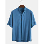 New              Mens 100% Cotton Oriental Ethnic Solid Color Stand Collar 3/4 Sleeve Shirts