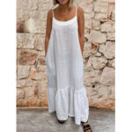 New              Women Sleeveless Adjustable Straps Solid Casual Maxi Dress