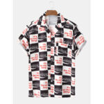 New              Men Plaid Letter Print Turn Down Collar Short Sleeve Holiday Casual Shirts