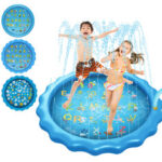 "New              170CM*10CM/68″*3.93"" Inflatable Swimming Pool Summer Splash Sprinkle Sprinkler Playmat Outdoor Water Play Mat Toy for Kids Children Toddlers"