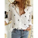 New              Daily Casual Women Bird Print Cotton Linen Long Sleeve Shirt Commute Blouse