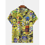New              Men Funny Cartoon Graffiti Print Button Up Turn Down Collar Short Sleeve Casual Shirts