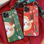 New              MEKS Christmas Cartoon Deer Pattern Plating with Lanyard Bracket Stand Shockproof TPU Protective Case for iPhone 11 / 11 Pro Max / 11 Pro / XR / XS MAX / 6 / 6S / 7 / 8 / 7 Plus / 8 Plus
