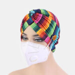 New              Printed Multi-colored Beanie National Style Button Mountable Ears Prevent Strangulation
