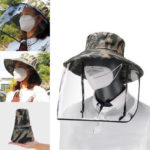 New              Removable Transparent Protective Mask Hat Anti-fog Splash Proof Fisherman Bucket Hat